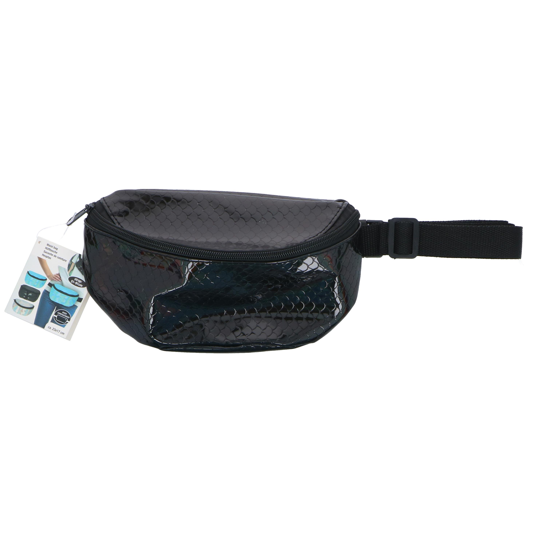 Heuptasje/buideltasje/fanny pack zwarte zeemeermin/schubben print 22 x 15 cm -