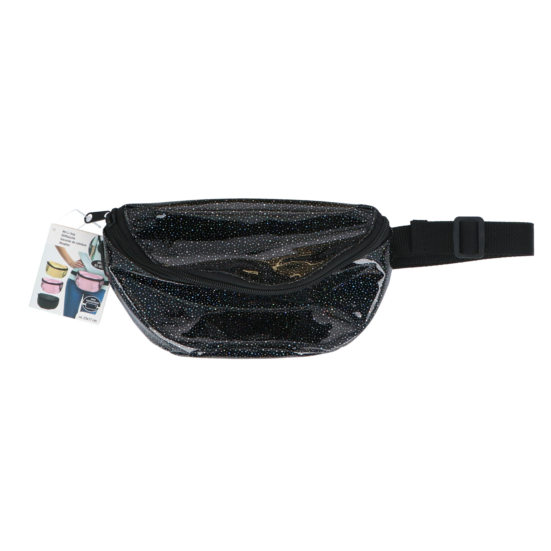 Heuptasje/buideltasje/fanny pack metallic glitter zwart 22 x 15 cm -