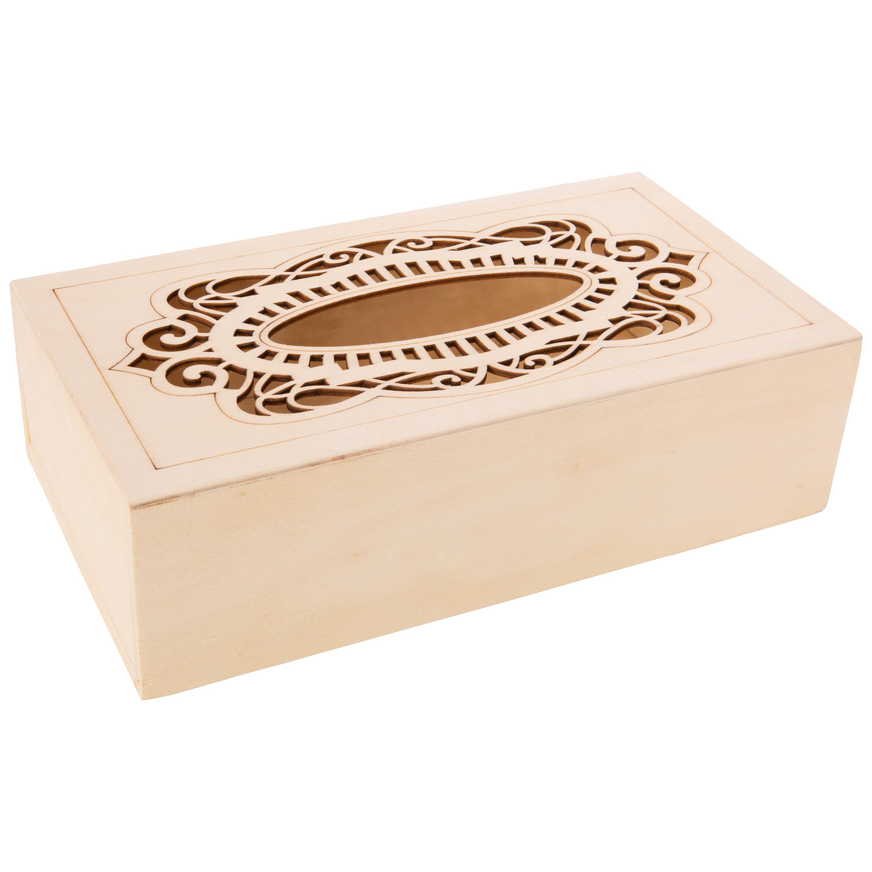 Tissuedoos/tissuebox rechthoekig van hout met sierlijk design 26 x 14 cm naturel -