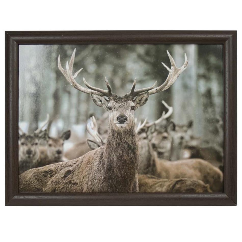 Schootkussen/laptray winter hert print 43 x 33 cm -