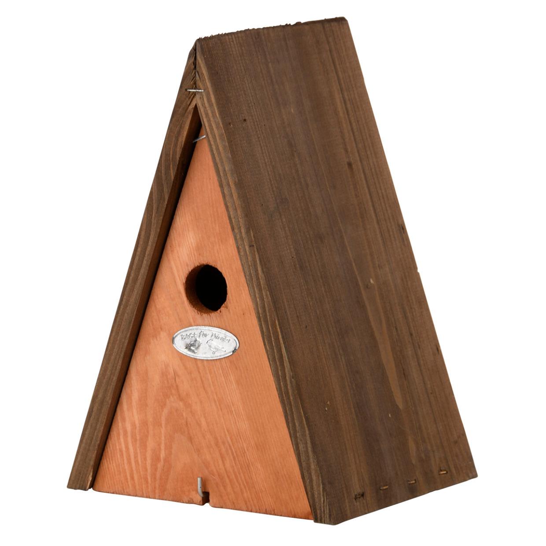 Houten vogelhuisje/nestkast wigwam bruin 27 cm -