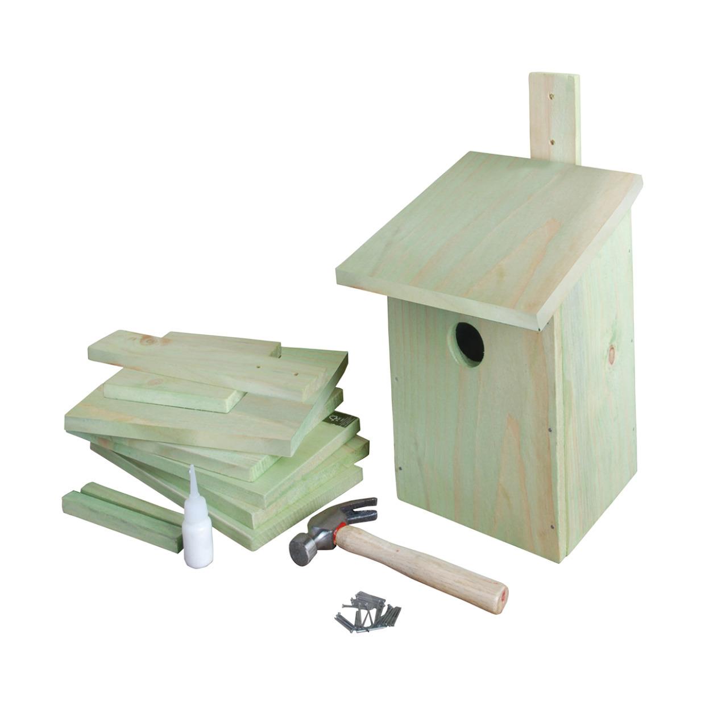 Doe-het-zelf houten vogelhuisje/nestkast 23 cm -