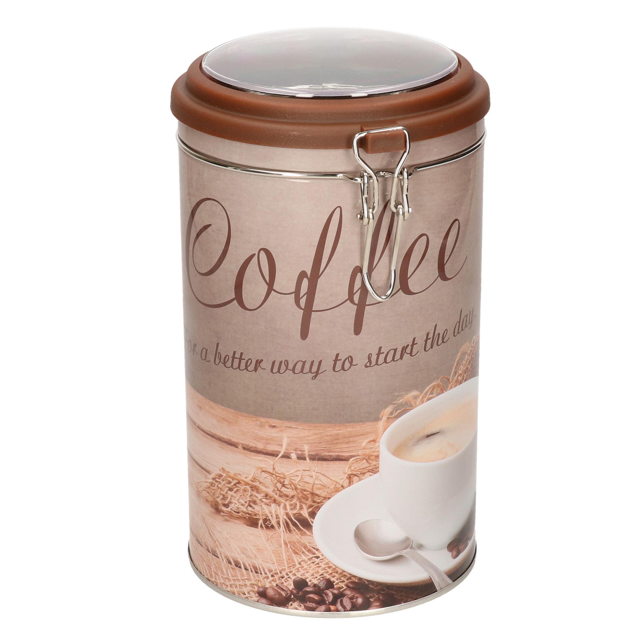 Bruin rond koffie opbergblik/bewaarblik 11 x 19 cm -
