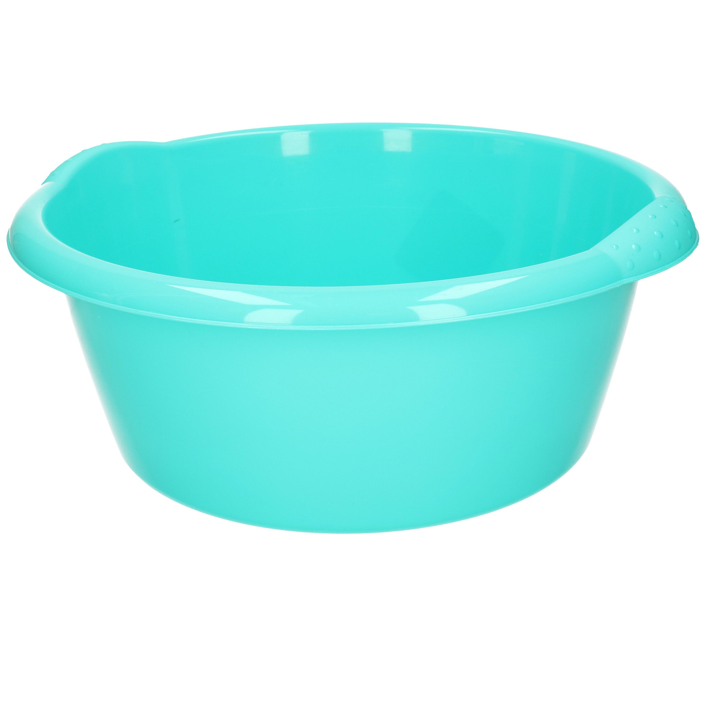 Ronde afwasteil/afwasbak turquoise groen 10 liter 38 x 16 cm -
