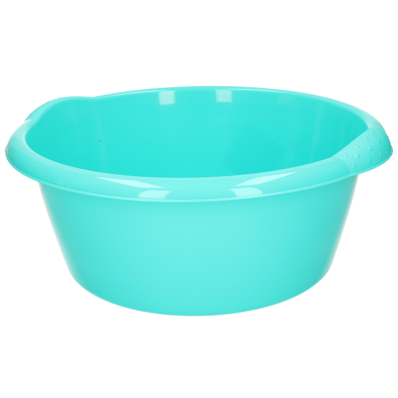 Ronde afwasteil/afwasbak turquoise groen 15 liter 42 x 17 cm -
