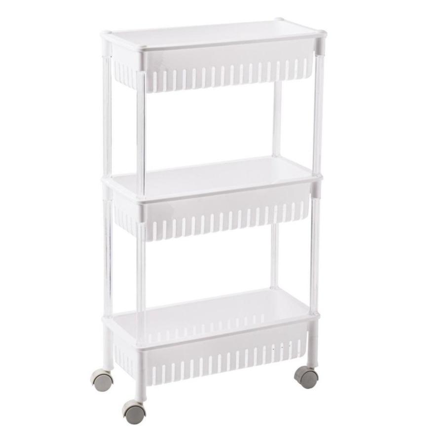 Opberg trolley/roltafel/organizer wit met 3 manden 42 x 26 x 80 cm -