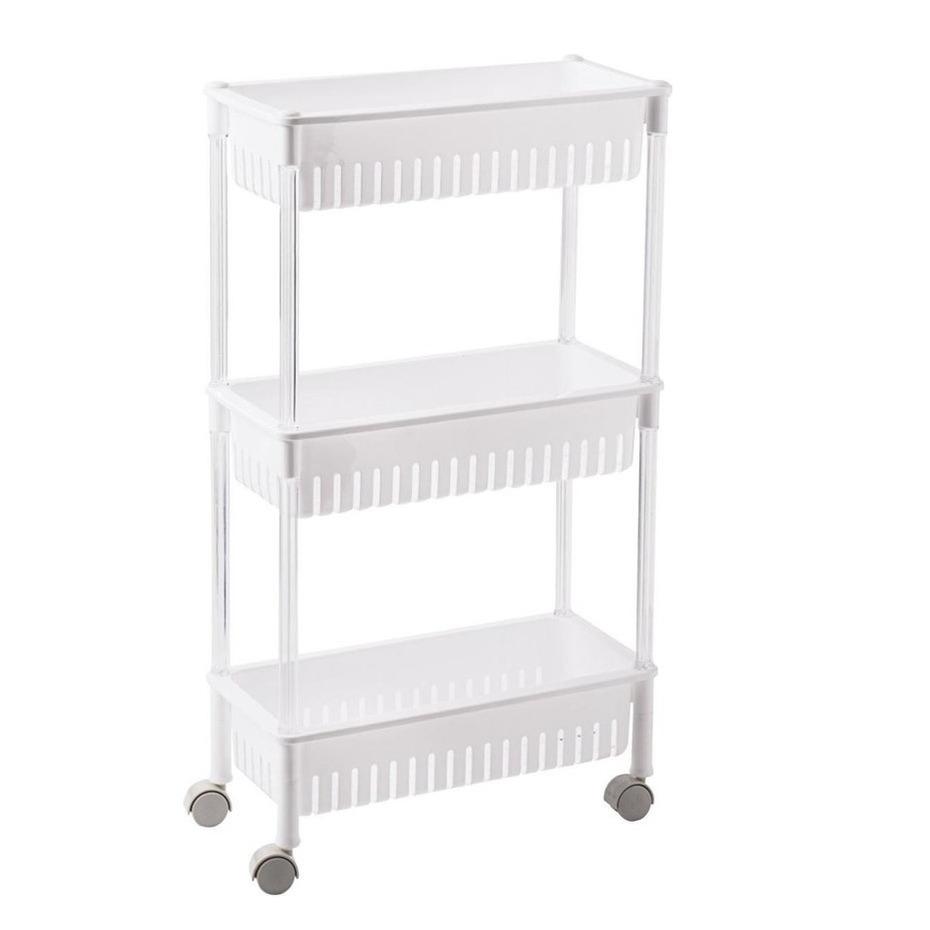Opberg trolley/roltafel/organizer wit met 3 manden 45 x 21 x 80 cm -
