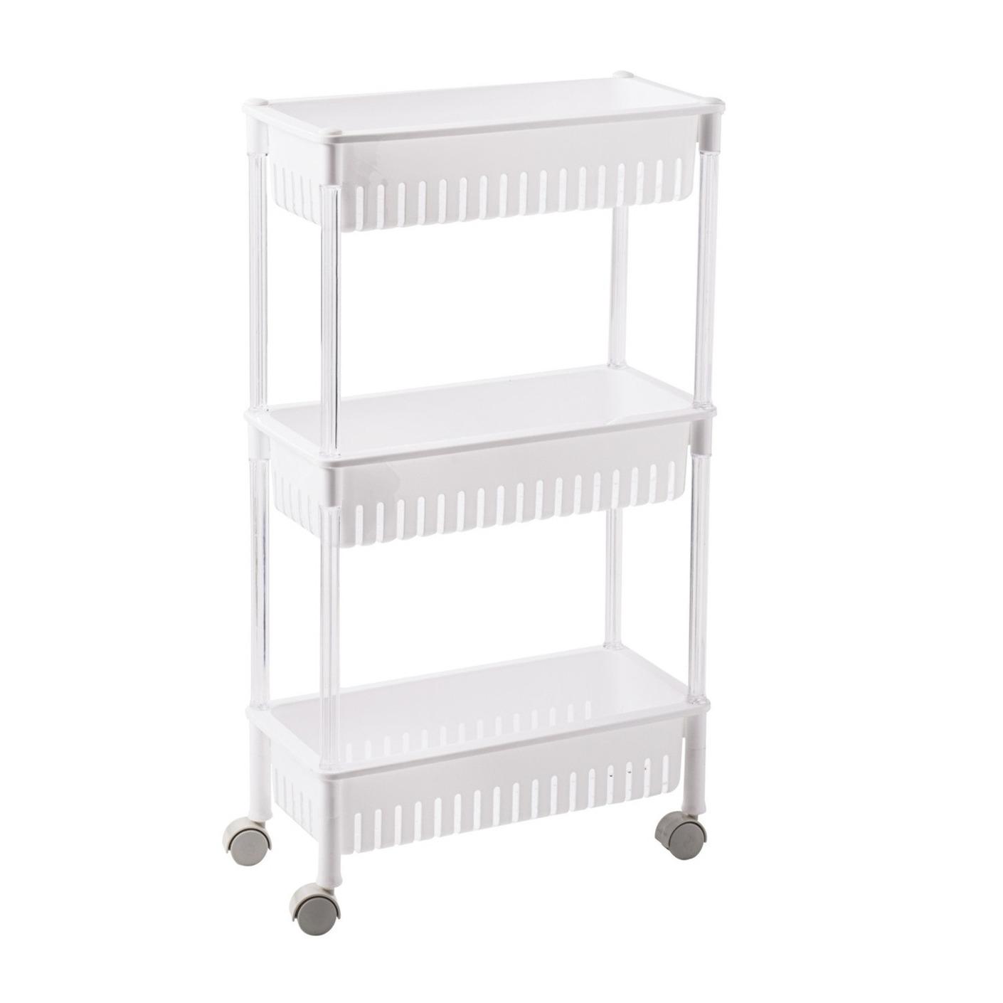 Opberg trolley/roltafel/organizer wit met 3 manden 47 x 16,5 x 80 cm -