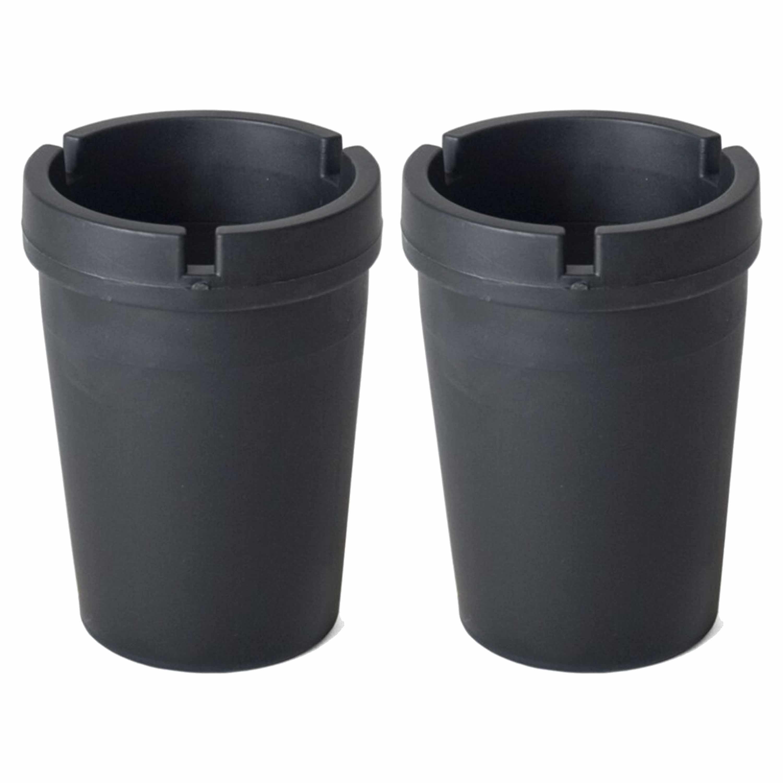 2x Auto asbakken zwart 11 x 8 cm -