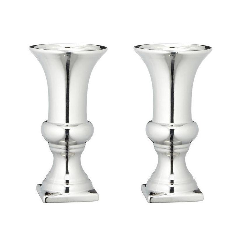 Set van 2x stuks ronde zilveren kelk vaas/vazen van keramiek 30 x 16 cm -