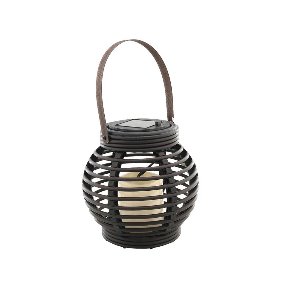 Buiten/tuin zwarte rotan lampionnen/hanglantaarns 16 cm solar tuinverlichting -