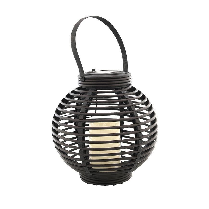 Buiten/tuin zwarte rotan lampionnen/hanglantaarns 20 cm solar tuinverlichting -