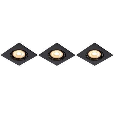Lucide inbouwspot Focus vierkant - zwart (3 stuks) - Leen Bakker