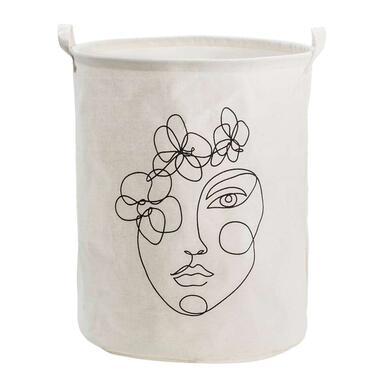 Opbergzak met gezicht - wit - 45x38 cm - Leen Bakker