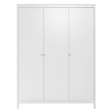 Kledingkast Madeira 3-deurs - wit - 199x150x58 cm - Leen Bakker