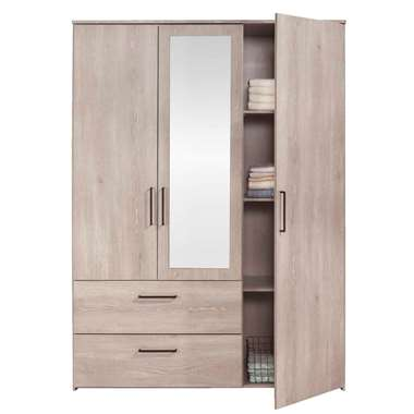 Kledingkast Orleans 3 deurs - vergrijsd eikenkleur - 201x145x58 cm - Leen Bakker