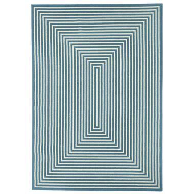 Floorita binnen/buitenvloerkleed Braid - lichtblauw - 200x285 cm - Leen Bakker