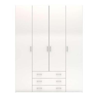 Kledingkast Space - 4-deurs - hoogglans wit - Leen Bakker