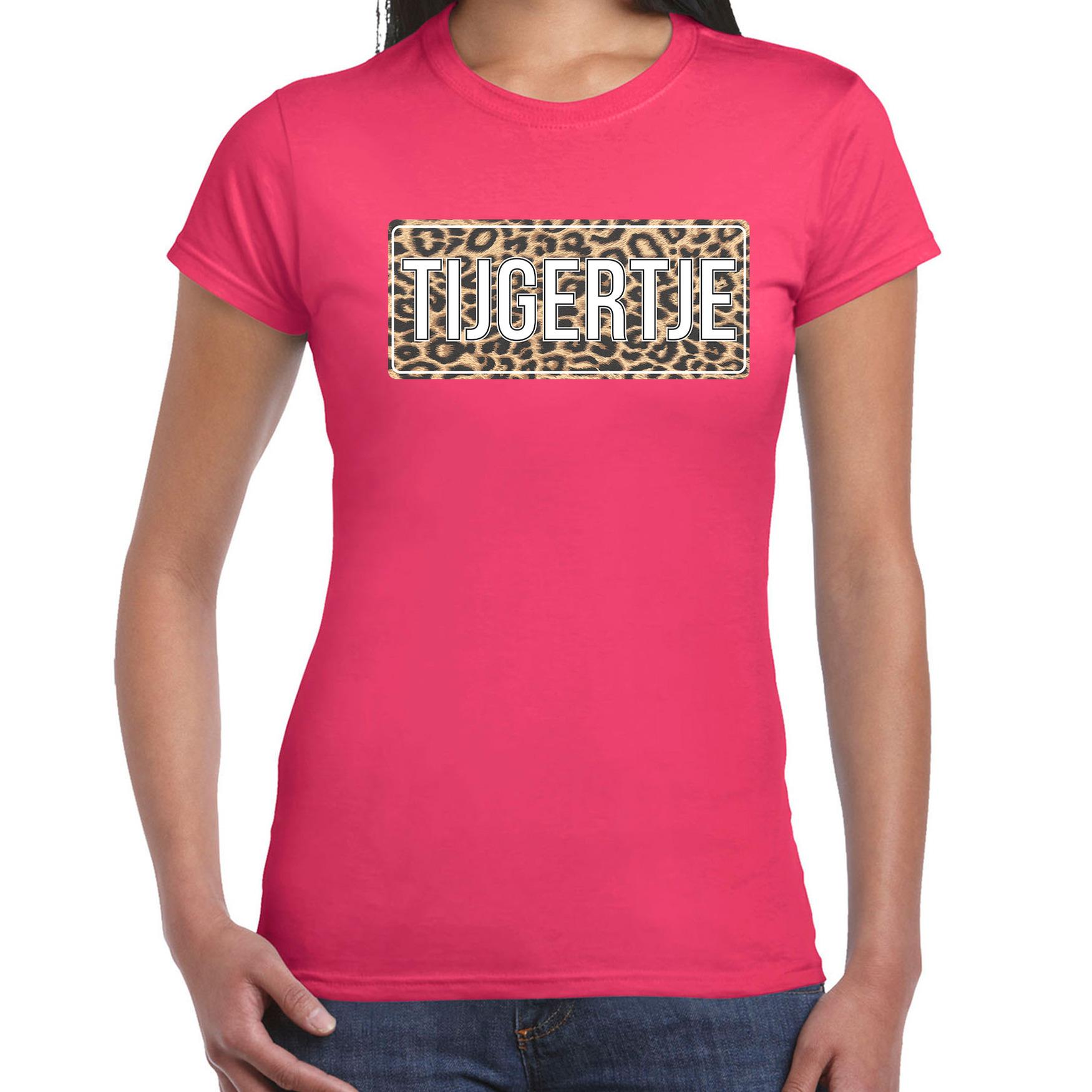 Tijgertje fun tekst t-shirt roze voor dames 2XL -