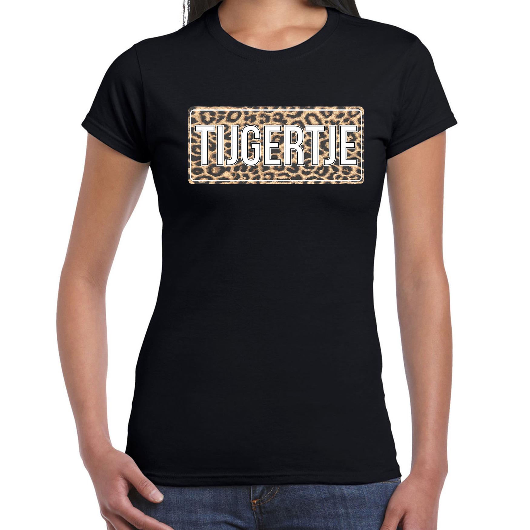 Tijgertje fun tekst t-shirt zwart voor dames XL -