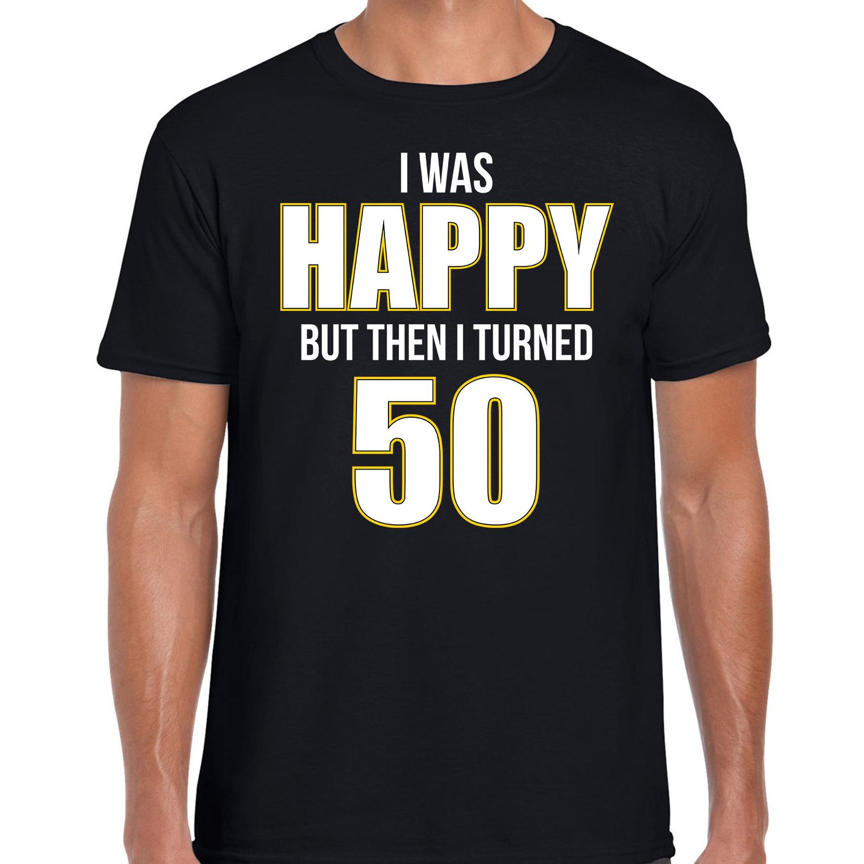 Verjaardag cadeau t-shirt 50 jaar - happy 50 zwart voor heren L -