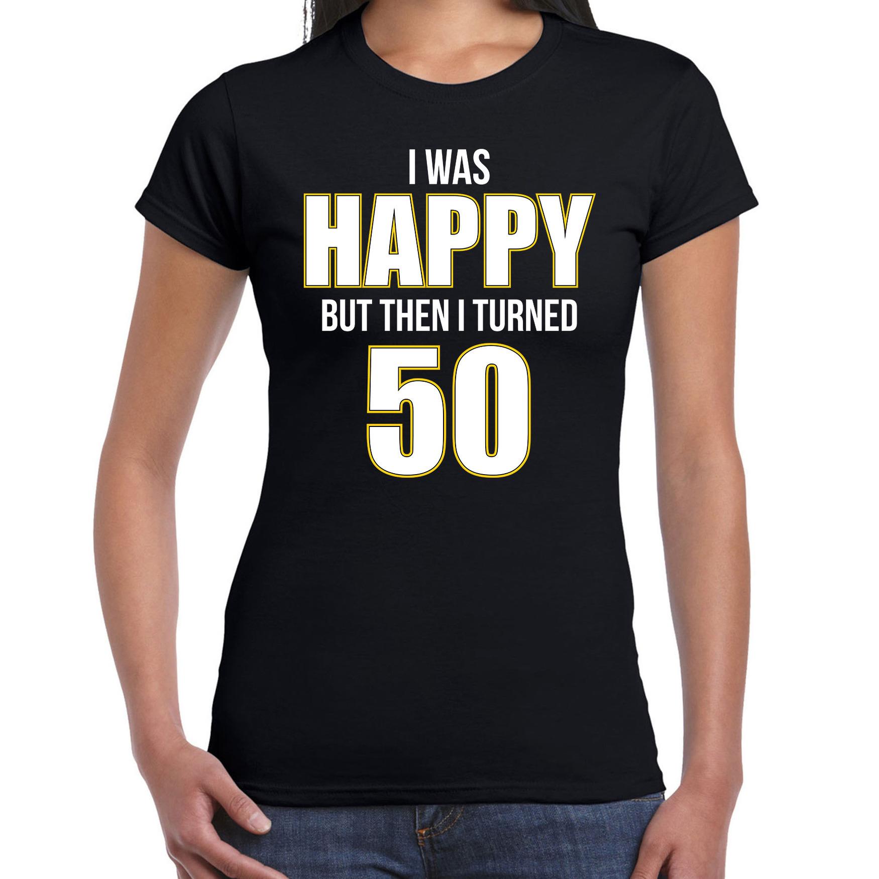 Verjaardag cadeau t-shirt 50 jaar - happy 50 zwart voor dames L -