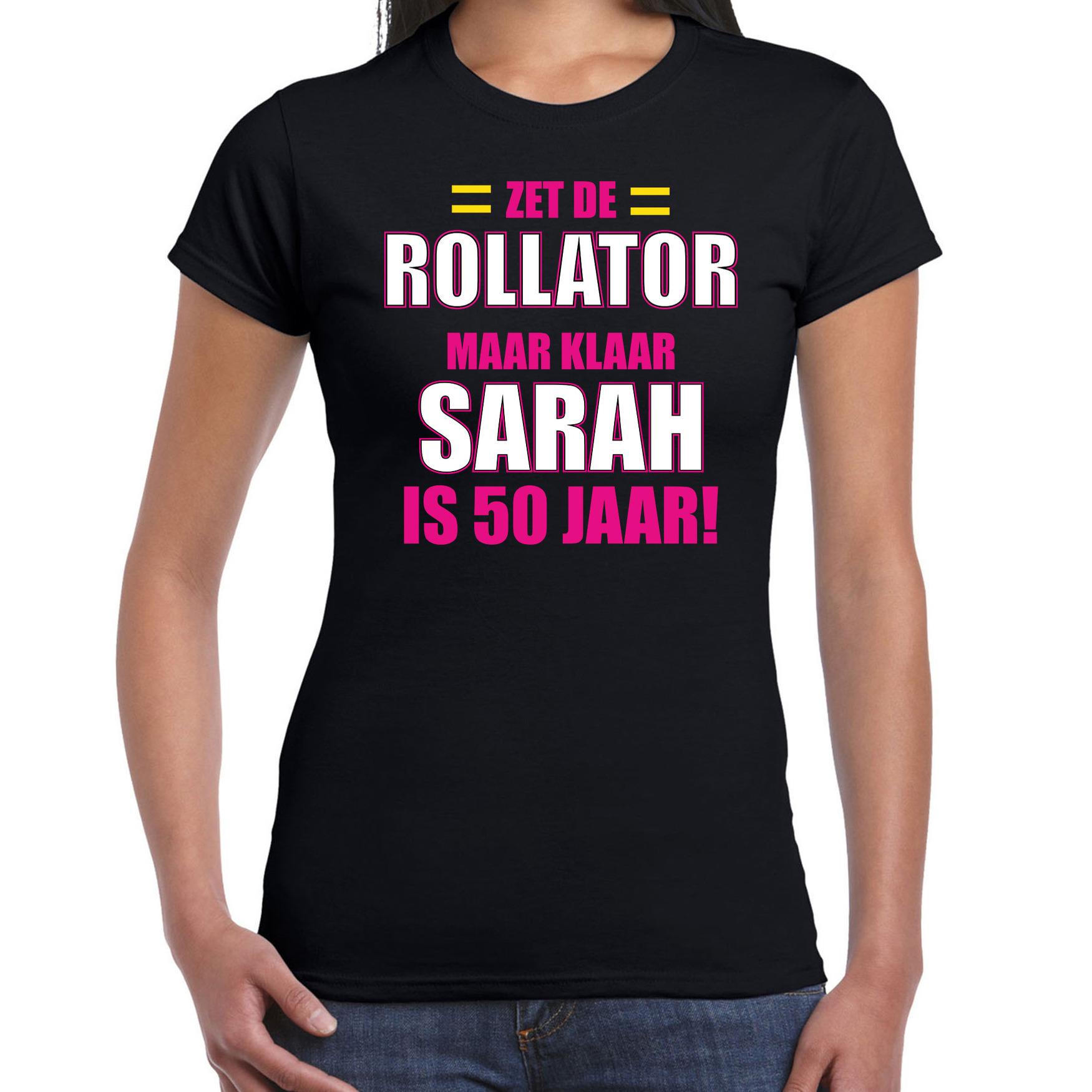 Verjaardag cadeau t-shirt rollator 50 jaar Sarah zwart voor dames M -