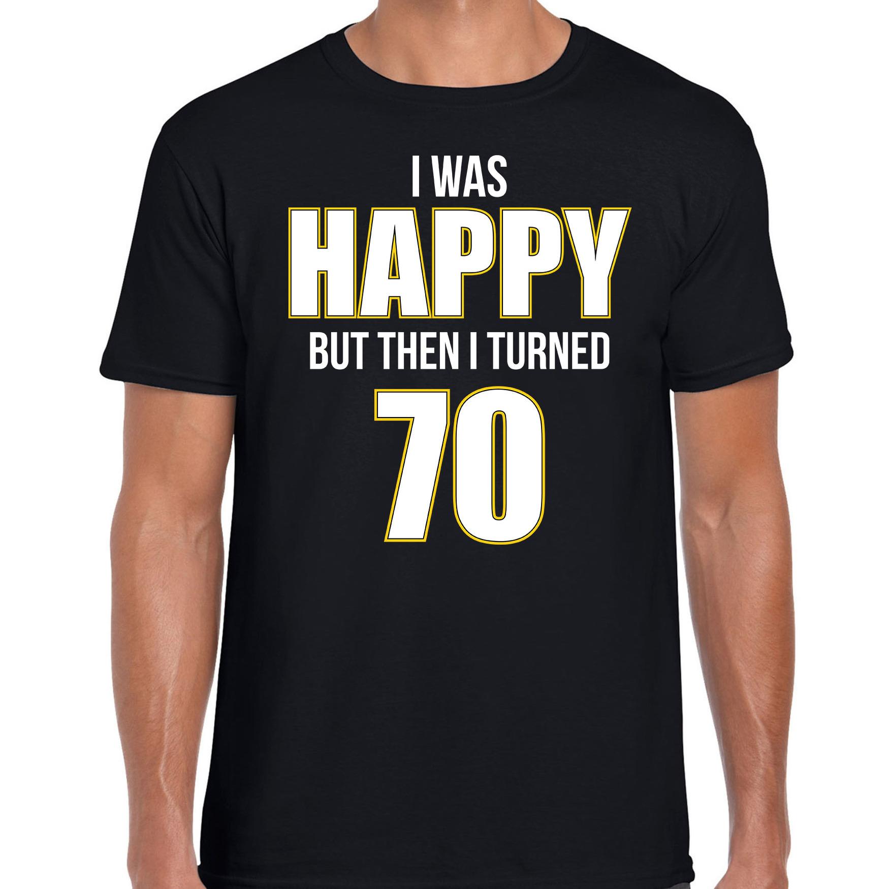 Verjaardag cadeau t-shirt 70 jaar - happy 70 zwart voor heren 2XL -
