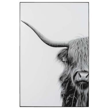 Schilderij Highlander - zwart/wit - 90x60 cm - Leen Bakker