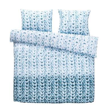 Dekbedovertrek Lois flanel - blauw - 200x200/220 cm - Leen Bakker