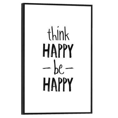 Poster met lijst Think Happy - 30x20 cm - Leen Bakker