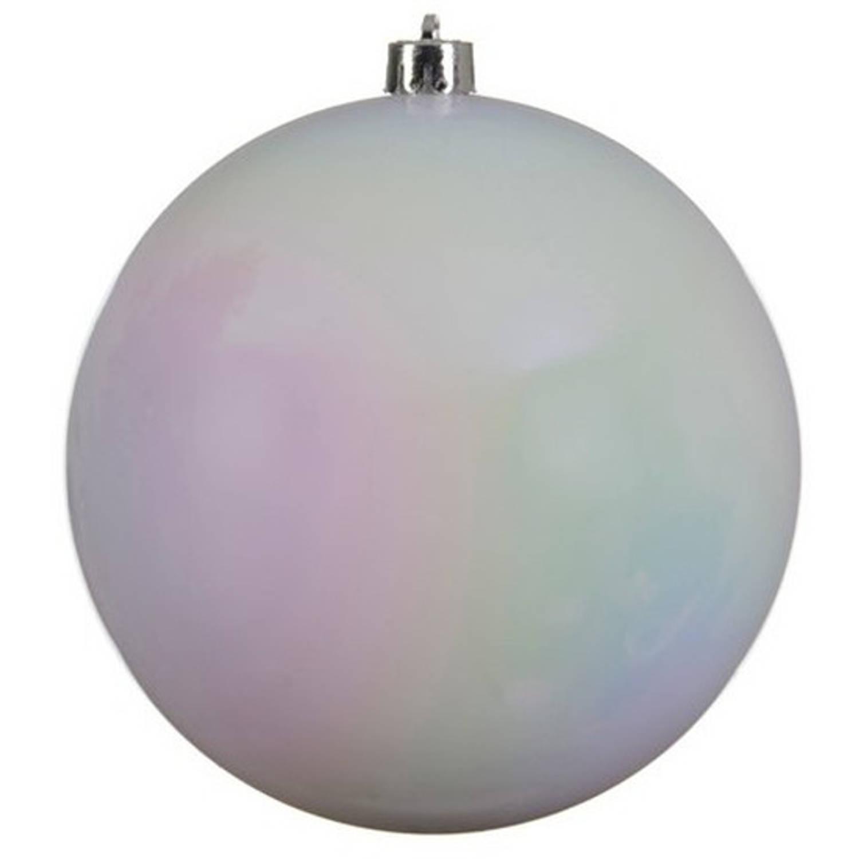 1x Grote Parelmoer Witte Kunststof Kerstballen Van 20 Cm - Glans - Parelmoer Witte Kerstballen - Kerstversiering