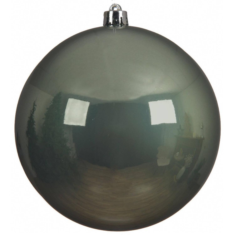 1x Grote Salie Groene Kunststof Kerstballen Van 20 Cm - Glans - Salie Groene Kerstballen - Kerstversiering
