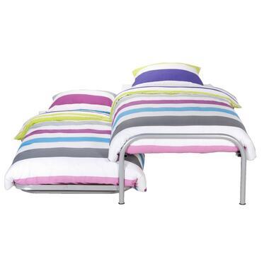 Bed Pascal (incl. onderschuifbed) - aluminiumkleur - 90x200 cm - Leen Bakker