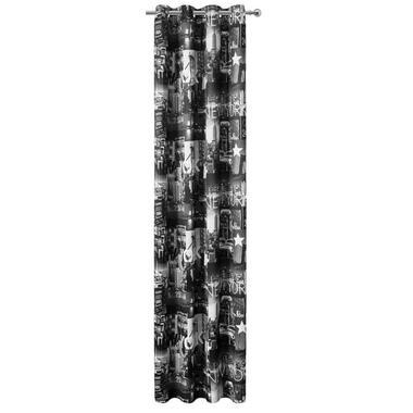 Gordijn New York - zwart/wit - 280x135 cm (1 stuk) - Leen Bakker