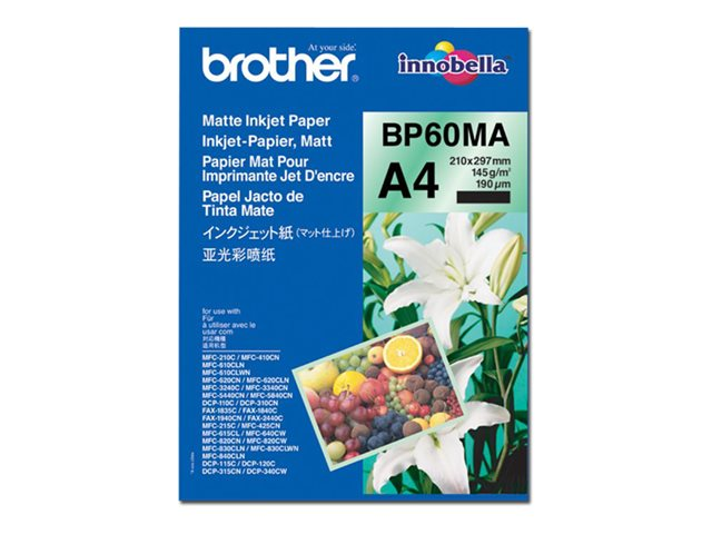 BP60MA Matte Inkjet Paper - Mat - A4 (210 x 297 mm) - 145 g/m² - 25 vel(len) papier - voor Brother DCP-J582, J982, HL-J6000, MFC-J1500, J1605, J5630, J6983, J738, J877, J903, J998