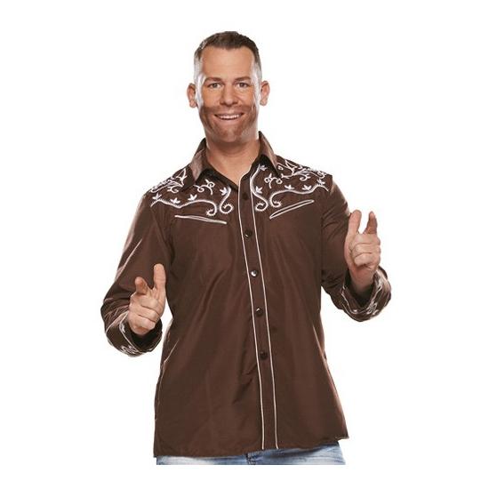 Bruine western blouse voor heren 56 (2XL) -