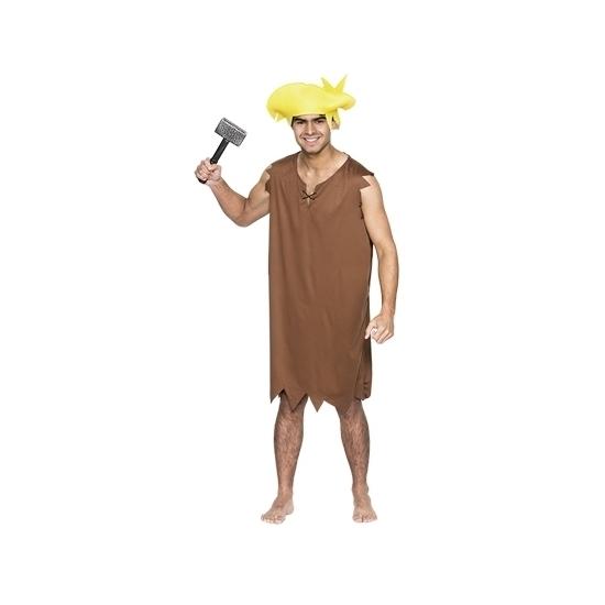 Holbewoner kostuum met pruik voor heren M/L (T-04) -