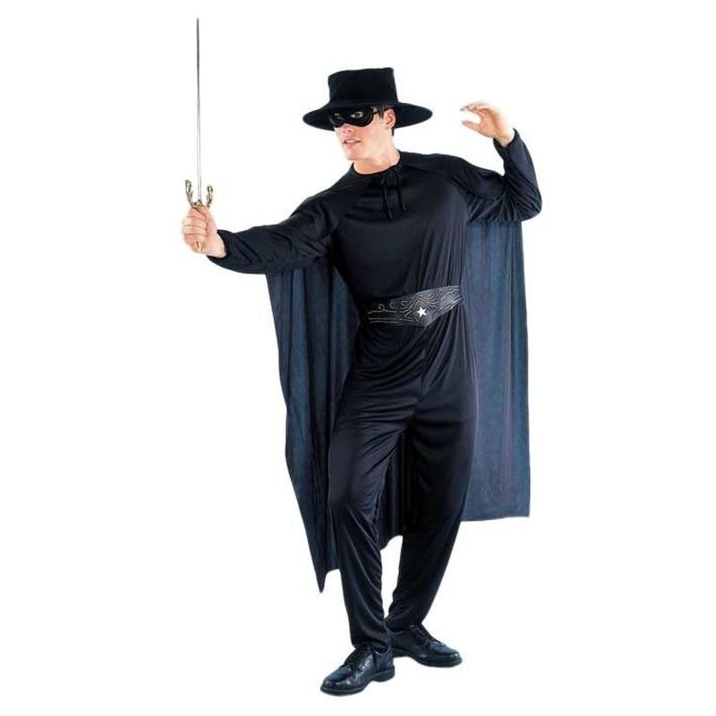 Zwarte held kostuum voor heren M/L (T-04) -