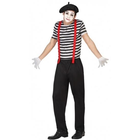 Mime clowns heren kostuum XL -