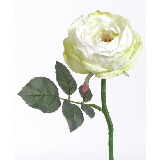 3x Deluxe kunstbloem roos Luna wit 33 cm -